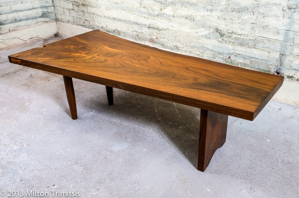 walnut coffee table in the style of Nakashima