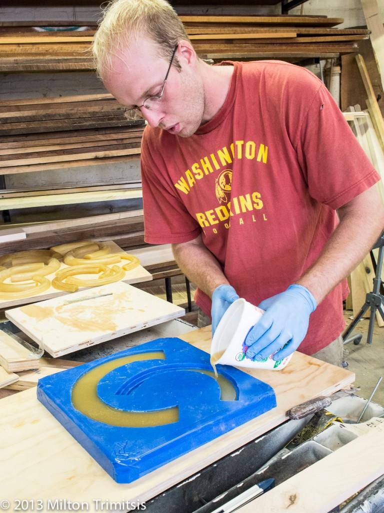Pouring urethane resin into a silicone mold