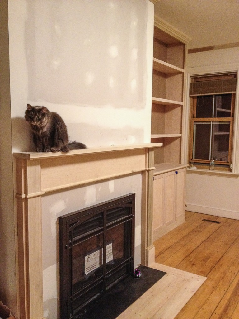 Cat sitting on newly-installed fireplace mantel