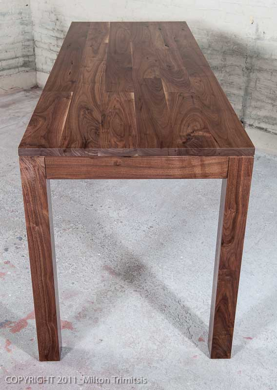Walnut kitchen table end view