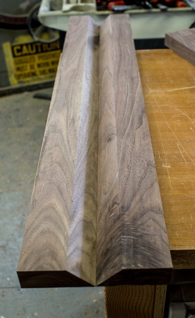 mitered walnut veneer for table leg