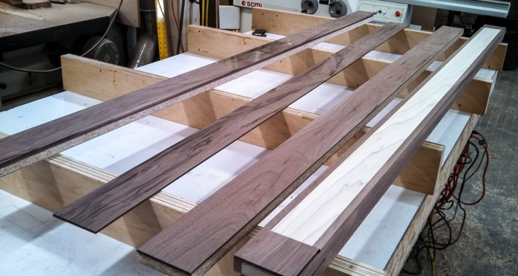 poplar and walnut table aprons being glued up