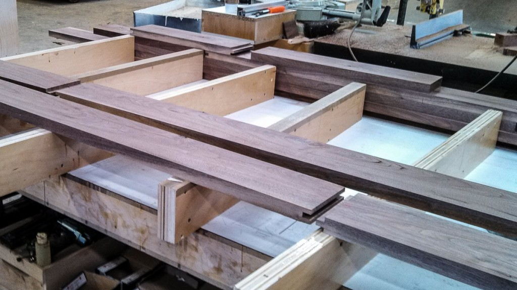 tongue-and-groove joinery for walnut tabletop