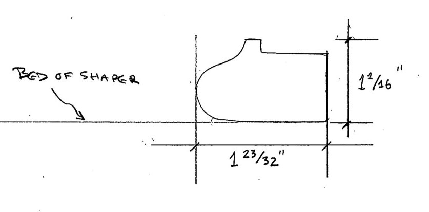 Line drawing of bed molding profile