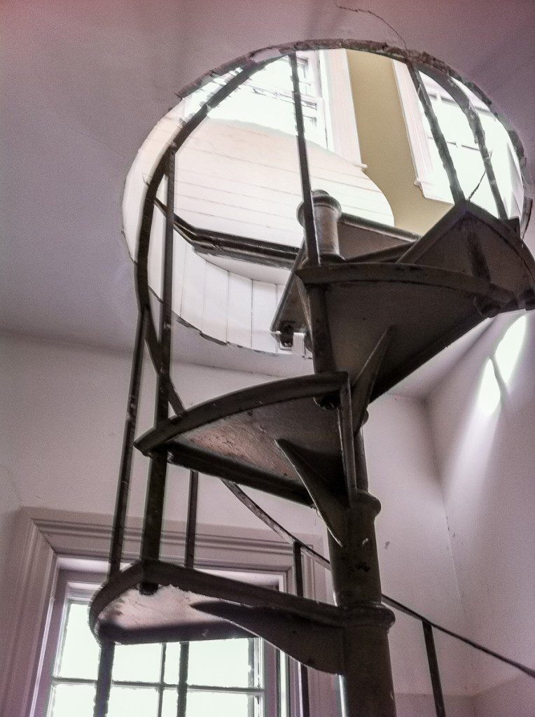 Metal spiral stair in 19th century house