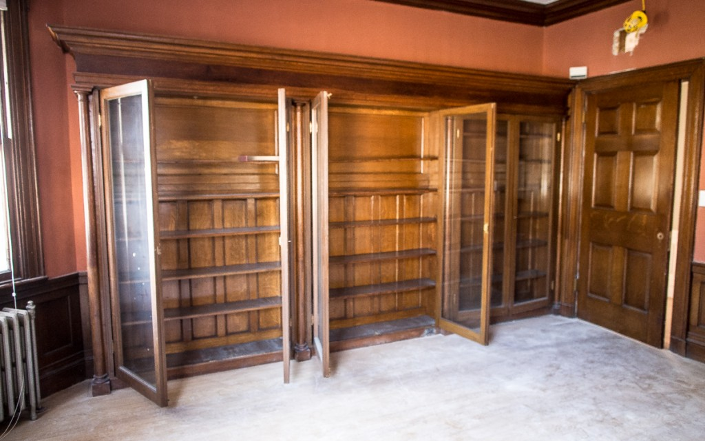 Oak library cabinets in old house