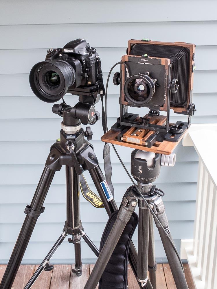 Nikon D800E digital camera with Shen Hao PTB 45 large format film camera