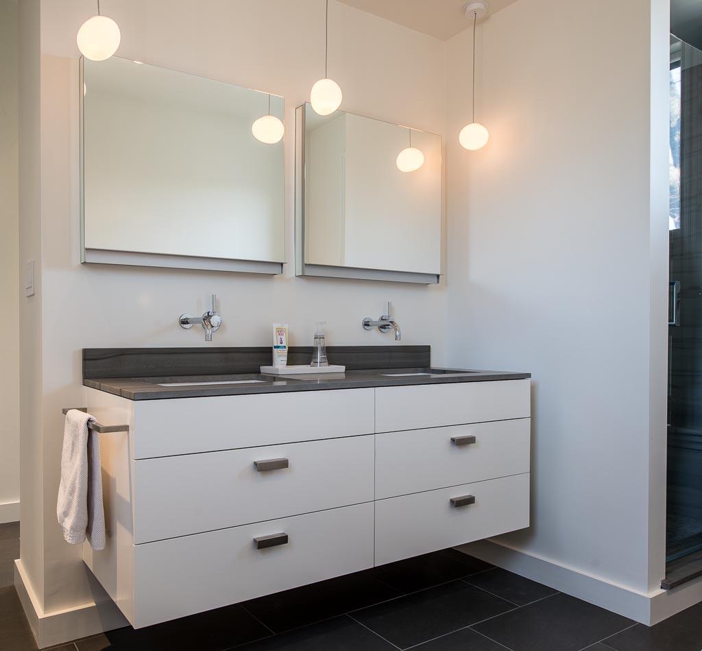 Custom-made vanity cabinet in modernist style